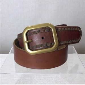 LUCKY BRAND Brown Leather Brass Buckle Belt